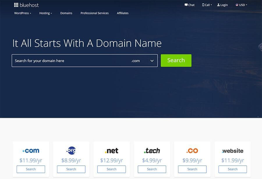 Bluehost Domain Names