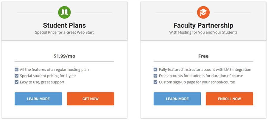 SiteGround Student Web Hosting Plans