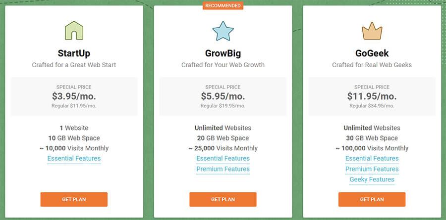 SiteGround Web Hosting Plans