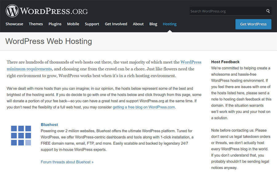 WordPress.org officially recommend Bluehost